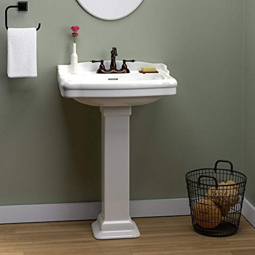 Magnus Home Products Chipley 300 Vitreous China Pedestal Bathroom Sink, 8