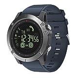 Tactical Watch: Smartwatch Hombre Reloj Táctico Militar Deportes Podómetro Notificación Mensajes Contador de Calorías iOS Android (Azul)