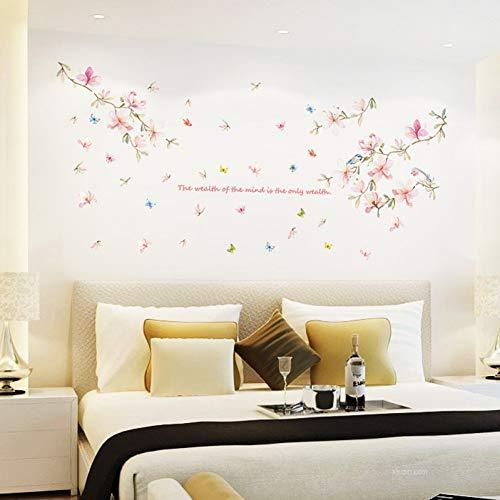 Frische Blumen und Vögel wasserdichte Aufkleberwarmes Schlafzimmer Wohnzimmer TV Hintergrund Dekoration Papierselbstklebende Blütenblatt Wandaufkleber