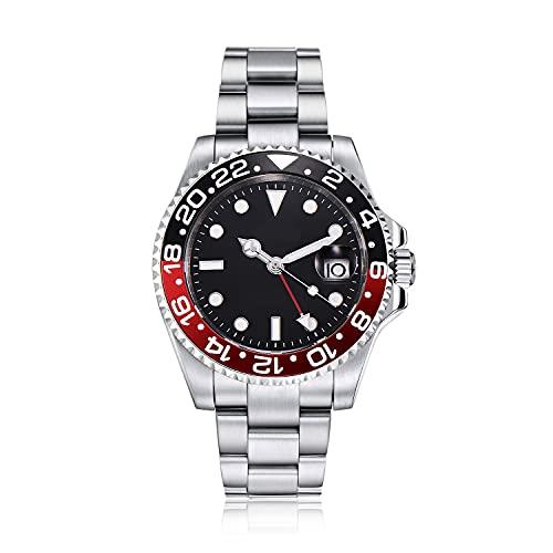 PARNIS by Collectors Club TW1004 GMT Automatikuhr 316L-Edelstahl Armbanduhr mit zweiter Zeitzone GMT Saphirglas 5BAR Wasserdicht