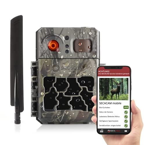 SECACAM Pro Plus Mobile LTE 4G Wildkamera inkl. 100 Bilder mit SIM-Karte, Handyübertragung, App, Fernbedienung, Bewegungsmelder & Nachtsicht, 80° Winkel