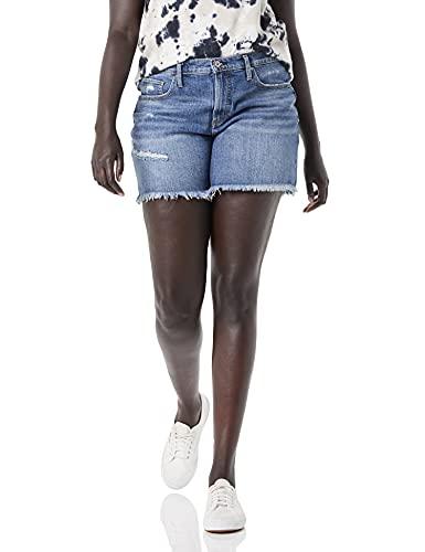 Silver Jeans Co. Women's Plus Size Not Your Boyfriend High Rise Jean Shorts, Distressed Medium Indigo, 12W