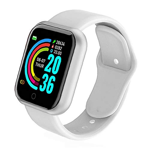 Smart Watch,Y68 Waterproof Heart Rate Test Big Screen Fitness Watch for Men Women Compatible with Andriod iOS White