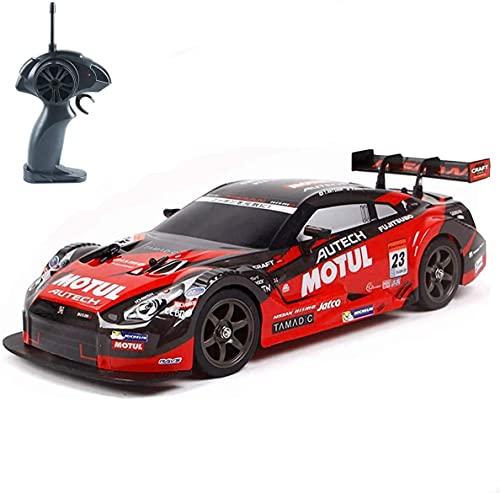 Makerfire Super GT RC Sport Racing Drift Car 1/16 Coche de Control Remoto Coche RC Drift para Adultos y niños Regalos Vehículo 4WD RTR con 6 baterías y neumáticos Drift - Rojo