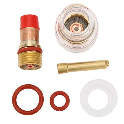 WIG-Schweißbrenner-Spannzangen-Kit TIG-17/18/26 Schweißbrenner-Filterführung Flüssigkeitsschutz-Spannzange mit transparenter Glasabdeckung Geeignet für Wolframnadel(1,6 MM)