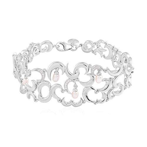 Rachel Galley White Pearl and Cambodian Zircon Snowdrop Bracelet for Women in 925 Sterling Silver Designer Christmas/New Year Gift Size 8 Inches, TCW 4.07ct