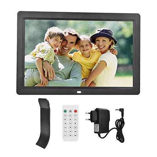 NEUFDAY Digitaler Bilderrahmen HD-Bildschirm Elektronischer Bilderrahmen 12,5-Zoll-Werbemaschine mit Videoplayer, Kalender, Alarm, Fernbedienung(EU-Schwarz)