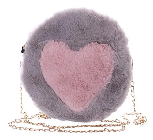 Kawaii-Story Faux-Fur LB-7044-1 - Borsa a tracolla da donna, motivo a cuore, colore grigio/rosa