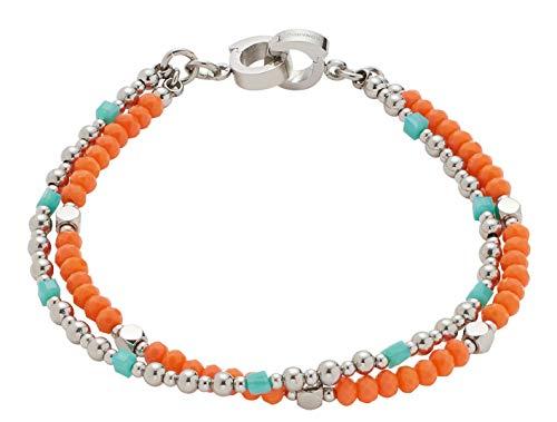 Jewels by Leonardo DARLIN'S Damen-Armband Corallo 2-reihig, Edelstahl mit mehrfarbigen Schliffglas-Perlen, Clip & Mix System, Länge 180 mm, 016823