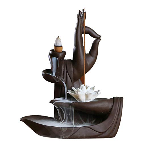 Handmade Waterfall Backflow Incense Burner,Backflow Incense Burner Incense Holder for Home Office Bedroom Yoga Decoration with 10 Pcs Free Cones (Lotus Hand)