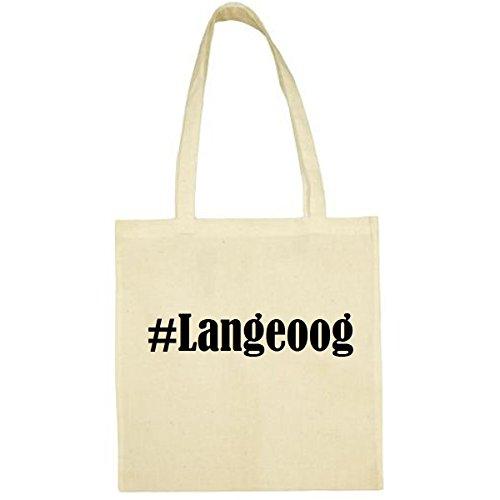 Tasche #Langeoog Größe 38x42 Farbe Natur Druck Schwarz