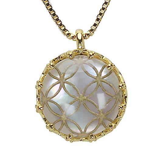 真珠の杜 水晶 ネックレス 白蝶貝 クォーツ シェル SV925 シルバー925 銀 七宝文様 金色 ペンダント メンズ 誕生石 4月 m-dpn658-692gps