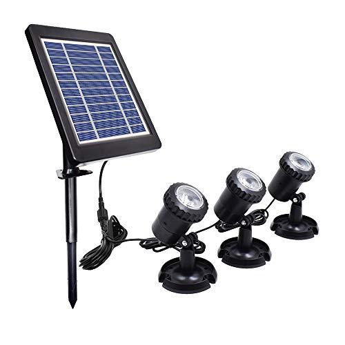 Luces solares para estanques Proyector para exteriores Focos subacuáticos Lámpara sumergible LED con 2 modos para piscina, estanque, jardín, patio, pared, camino (3 heads warm white)