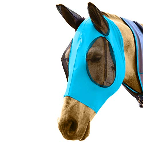 DakPets Horse Fly Mask with Ears - Comfort Fit Fly Mask – Protects The Horse from Insects and Irritants - Lightweight & Comfortable Stretchy Lycra & Mesh UV Equine Fly Mask - Protects Eyes and Ears