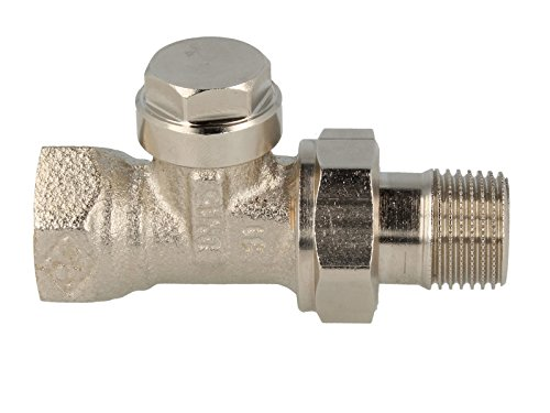 Heimeier Regulux radiator terugloopschroefverbinding doorgangsvorm roodgietijzer vernikkeld DN 20 (1,90 cm)