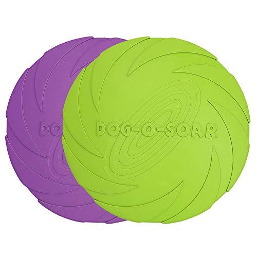 Vivifying Discos voladores para perros, 2 unidades de 17,7 cm de goma natural flotante para tierra y agua (verde + morado)