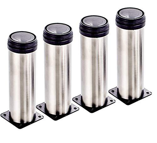 4X Qrity Schrank Beine Küche Füße Arbeitsplatte/Einheit/Frühstück Bar/Schreibtisch Tischbeine Möbel Beine - Chrom Metall - Höhenverstellbar (Gesamt: 150-165mm)