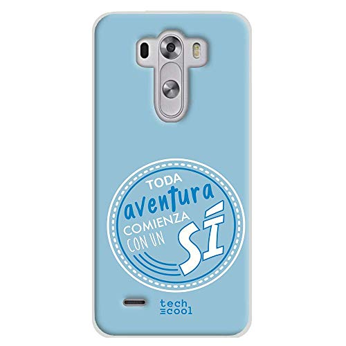 Funnytech Funda Silicona para LG G3 [Gel Silicona Flexible, Diseño Exclusivo] Frase Toda Aventura. Azul