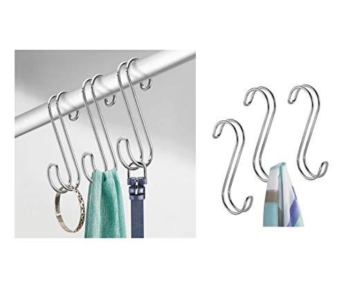 iDesign 06592EU Classico Accessoire-Organizer zum Hängen über die Kleiderstange für Krawatten, Gürtel, Handtaschen - 3 Stück, chrom, Steel, Chrome, 1, 8 x 6, 1 x 20, 6 cm