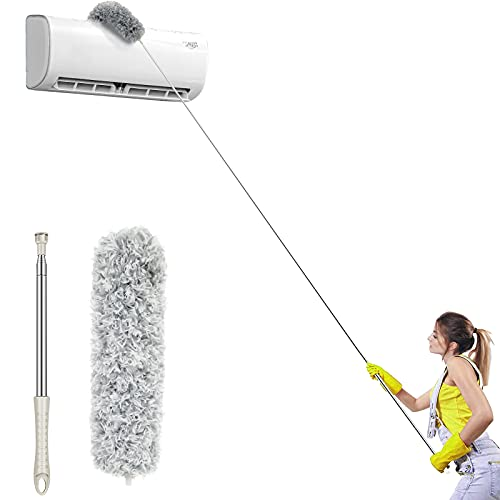Auxobils Microfiber Duster for Cleaning High, Telescoping Duster with Extension Pole 100 Inches, Includes Cobweb Duster Ceiling Fan Duster, Duster Kit with Removable Head,Duster for Blinds Car