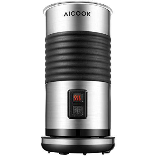 AICOOK Espumador de Leche, 3 Vaporizador de Leche Eléctrico, 200ml Recubrimiento Antiadherente, Automático para Espuma Rica para Café, Latte, Cappuccino