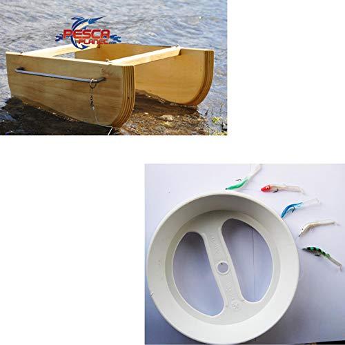 agc Kit Pesca Barchino Divergente + Trave Pronto Pesciolini Armati Kit Composto da BARCHINO SCANNETTO DIVERGENTE in Legno E Acciaio Inox + Trave Pronto C5 con PESCIOLINI Armati
