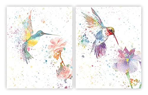 Hummingbird Decor Wall Art Prints Set of 2(8' x 10'Watercolor Hummingbirds and Flower Wall Canvas Painting Decorations for Living Room Home Decor UNFRAMED