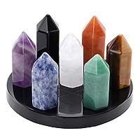 Jovivi 7 Chakra Star Group Reiki Lucky Amethyst Crystal Ball Quartz Sphere & Guardian Angel Figurines Healing Stone on Obsidian Stand Base Set Decoration w/Box