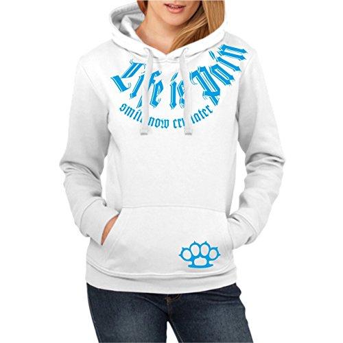 Frauen und Girly Hoodies Kapuzenpullover Smile Now cry Later BLAU (mit Rückendruck)