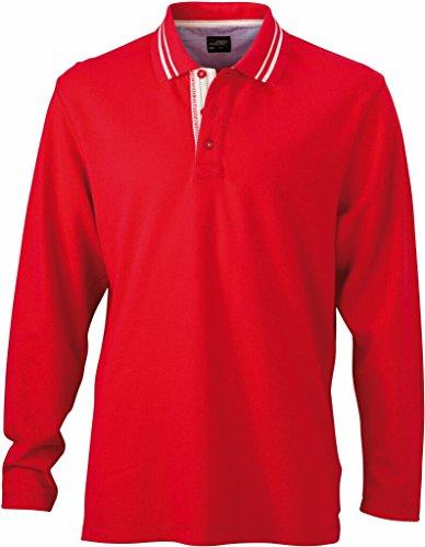JAMES & NICHOLSON Polo manches longues (XL, rouge/blanc cassé)