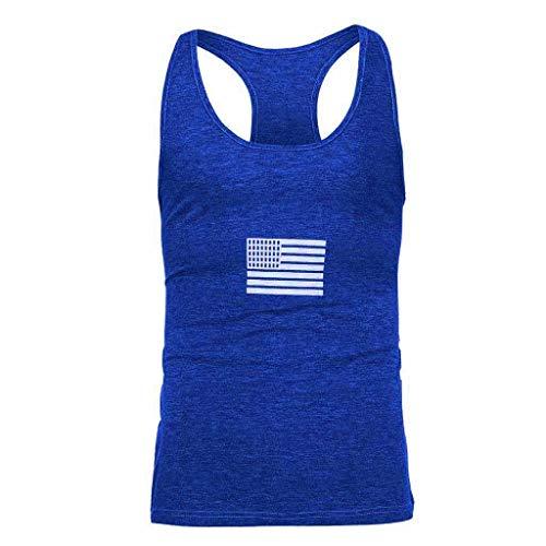 Camisetas Hombre Tirantes Fitness Gym Baratas SHOBDW 2019 Sólido Cuello Redondo Casual Moda Suelto Tops Camisetas Hombre Deporte Sin Mangas(Azul,XL)