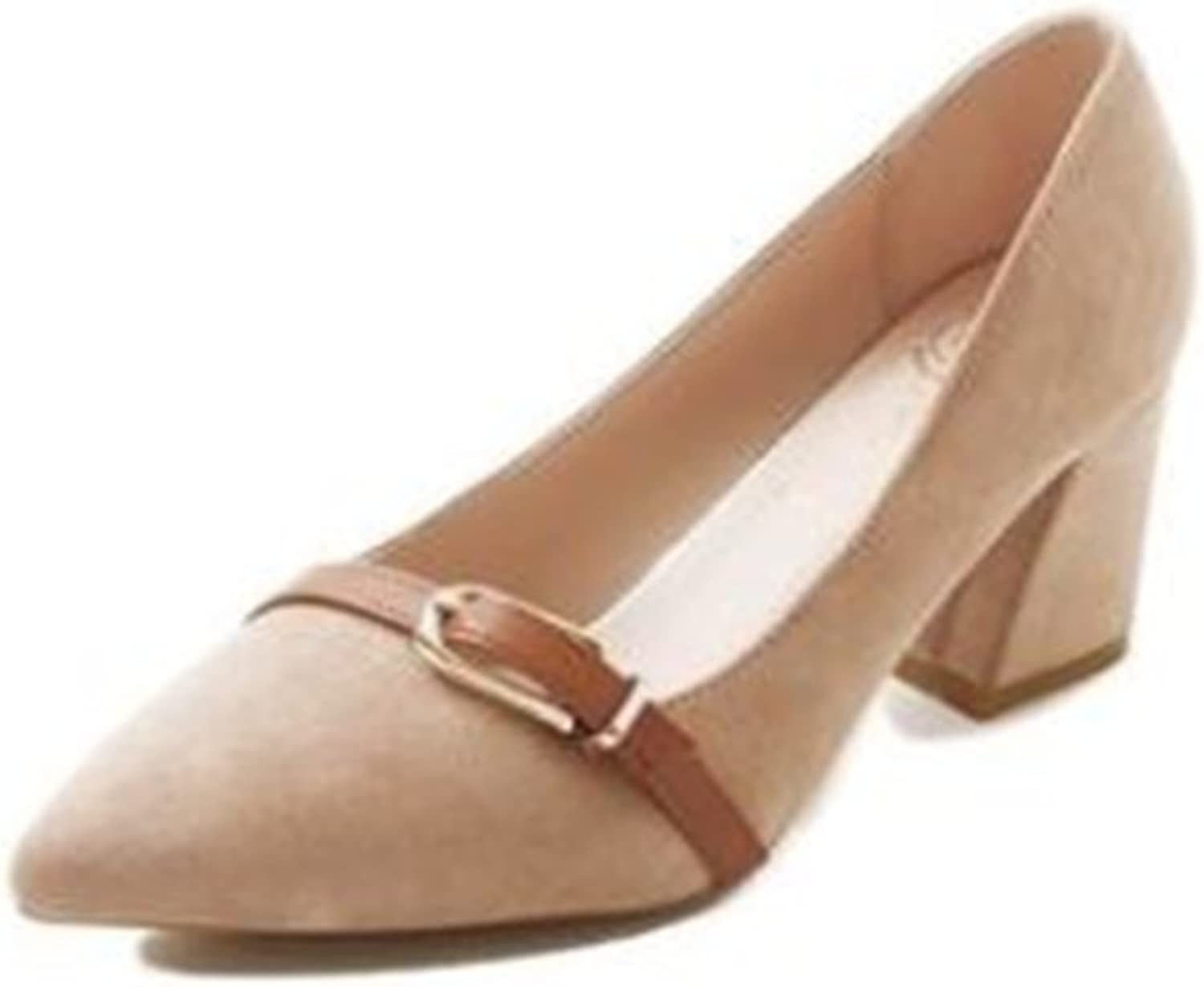 BeautyOriginal Women's Indie Pink Pumps Fashion Middle High Block Heel