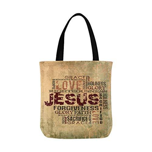 Christian Religious Bible Verse Jesus Words Cross Canvas Tote Bag