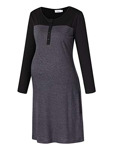 Coolmee Maternity Dress Women's Nursing Gowns for Women Breastfeeding with Button Gray M