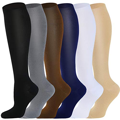 Copper Compression Socks for Women & Men 6 Pairs 15-20 mmHg is Best for Graduated Athletic, Running, Travel, Flight, Nurses