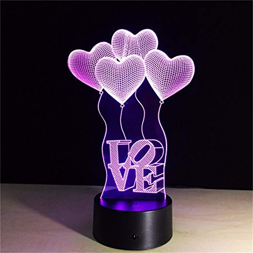 YCEOT 3D LED Night Light Love Balloon Action Figuur 7 kleuren Touch Illusion Optical tafellamp decoratie huis model