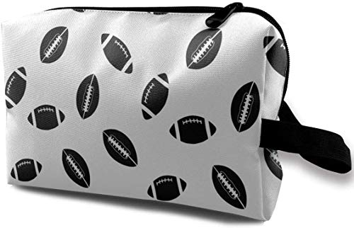 with Wristlet Cosmetic Bags Black Rugby Sport Travel Portable Makeup Bag Zipper Wallet Hangbag