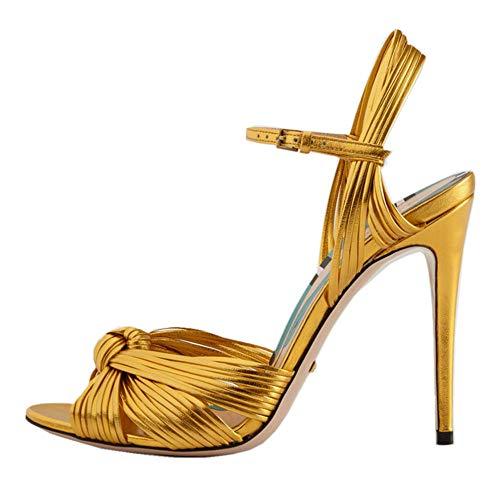 CularAcci Donna Elegant Stiletto Sandali Peep Toe Moda Tacco Alto Nozze Sandali Buckle Estate Festa Vestito Scarpe Cinturino alla Caviglia Sandali Gold Size 34 Asiatico
