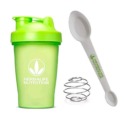 Herbalife Shaker Bottle 13.5-Ounce(400ml) Green and Herbalife Spoon 1 pack