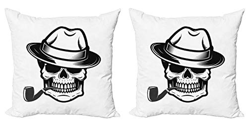 Ambesonne Skull Smoking Throw Pillow Cushion Cover Pack of 2, Human Skeleton Head Depicted as Gentleman Wearing a Fedora Hat, Zippered Double-Side Digital Print Decor, 20', White and Charcoal Grey