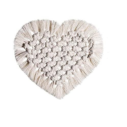 JKLJKL Bohemia Estilo algodón Copa Taza de Almohadilla de algodón de Tejido de algodón con Forma de corazón de Color sólido Mat de la Taza de Macrame Macrame Coster Decoración del hogar