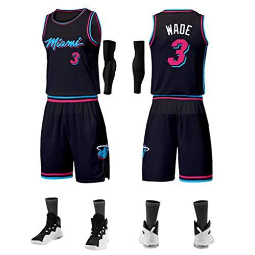 NBALL-HU Miami Heat # 3 Wade (The Flash) all-Star Classic Smanicato da Basket Traspirante Allentato Abito da Allenamento Completo (Top + Pantaloncini) Nero,M