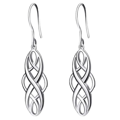Colecci¨n de pendientes para mujer Pendientes colgantes ovalados con dise?o celta de plata esterlina