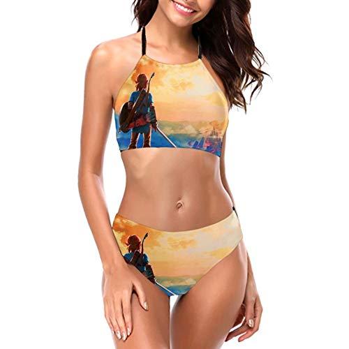 Lege-nd of Z-el-da Mas-te-r Espada Laides Halter Bikini Conjuntos de traje de baño sexy traje de baño de dos piezas sin respaldo