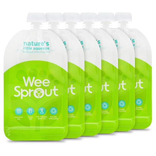 WeeSprout Double Zipper Reusable Food Pouches, 6 Pack 7 fl oz Size Pouches, Green