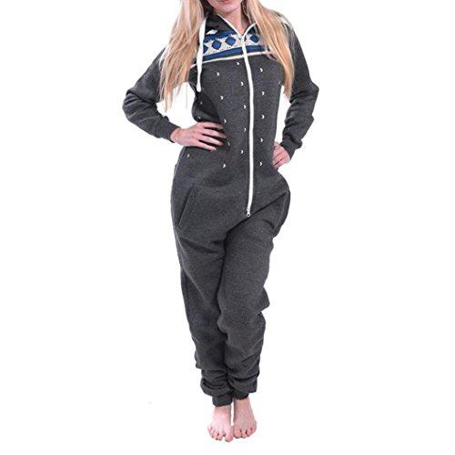 Elecenty Damen 3D Drucken Jumpsuit Pyjamas Schlafanzug Frauen Langarm Weihnachten Elch Bedruckt Overall Nachtwäsche Winter warm lang mit Kapuze Hosenanzug Anzug Sleepwear Overall (S, Dunkelgrau)