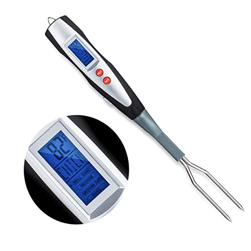 Meat Thermometer Instant Read for Grilling Cooking Thermometer for Meat Digital Barbecue Turner Fork for Kitchen, Grilling, Smoker, Turkey
