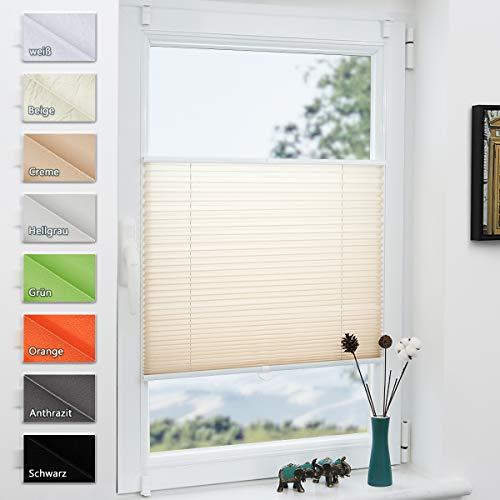 Grandekor Plissee Klemmfix lichtdurchlässig Kinderzimmer, Plisseerollo Jalousien ohne Bohren Sichtschutz & Sonnenschutz Schlafzimmer für Fenster & Tür - 70x130cm (BxH) Creme