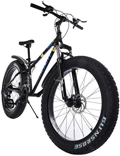 SYCY Bicicleta de montaña Fat Tire Bicicleta de 26 Pulgadas Bicicleta de Crucero Antideslizante con Marco de 21 velocidades Bicicleta de Crucero con suspensión de Marco de Acero de Alta Resistencia