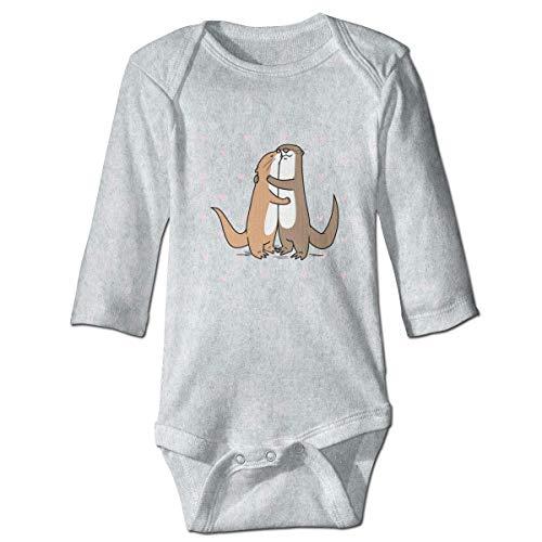 Baby Langarm Liebe von Cartoon Otter Herz Onesies Bodysuit Soft Romper Pyjama für Jungen Mädchen